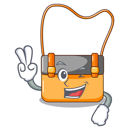 Two finger bag messenger businessman the leather character