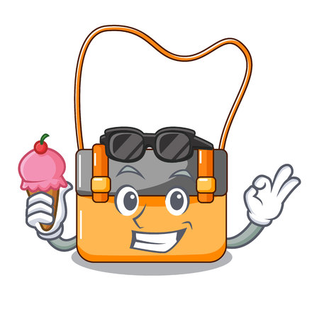 With ice cream bag messenger businessman the leather character Illustration