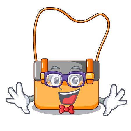 Geek bag messenger businessman the leather character vector illustration  イラスト・ベクター素材
