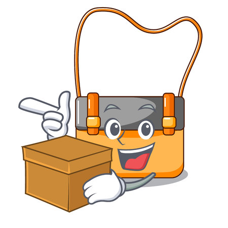 With box bag messenger businessman the leather character vector illustration