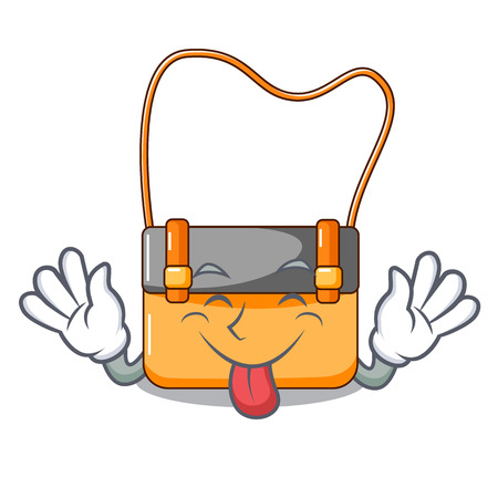Tongue out beautiful menesengger bag fashion with caratoon vector illustration Stock Photo