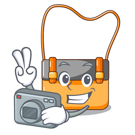 Photographer menesseger bag color on a cartoon vector illustration