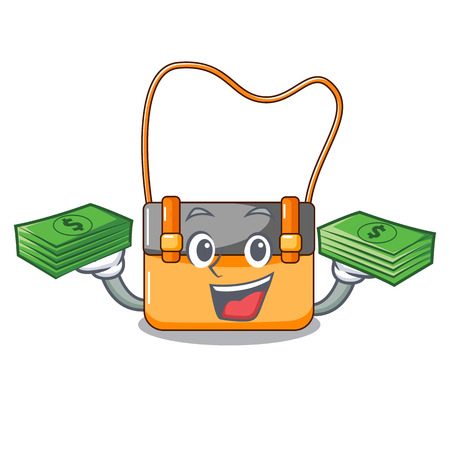 With money menesseger bag color on a cartoon vector illustration