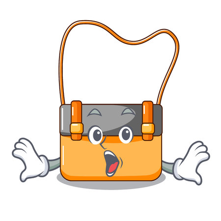 Surprised menesseger bag color on a cartoon vector illustration Stock Photo