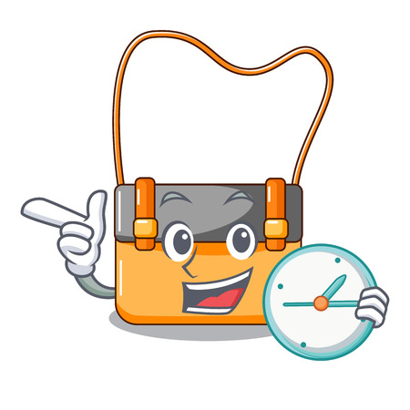 With clock bag messenger businessman the leather character vector illustration