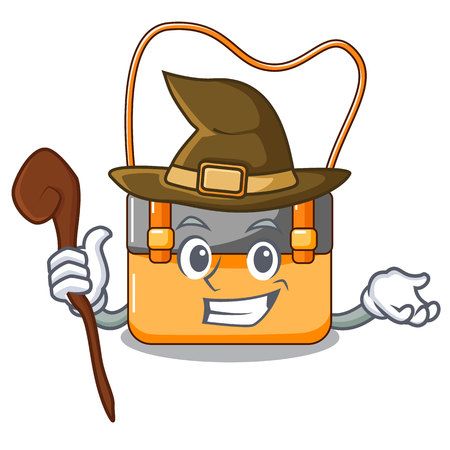 Witch menesseger bag color on a cartoon vector illustration