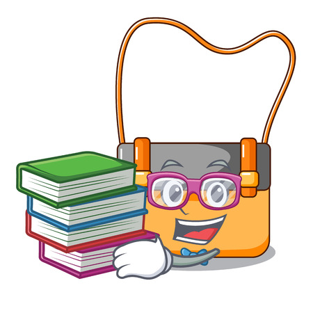 Student with book beautiful menesengger bag fashion with caratoon vector illustration Stock Photo