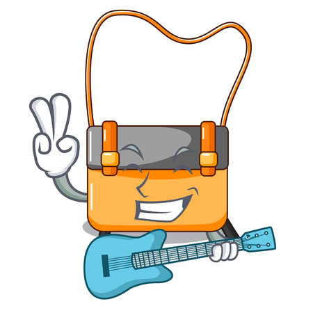 With guitar menesseger bag color on a cartoon vector illustration