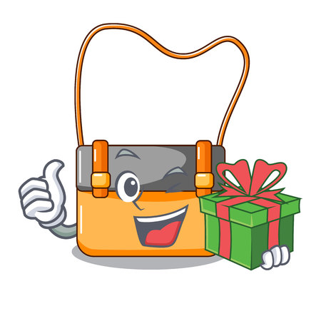 With gift menesseger bag color on a cartoon vector illustration