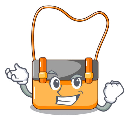 Successful bag messenger businessman the leather character vector illustration