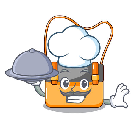 Chef with food menesseger bag color on a cartoon vector illustration