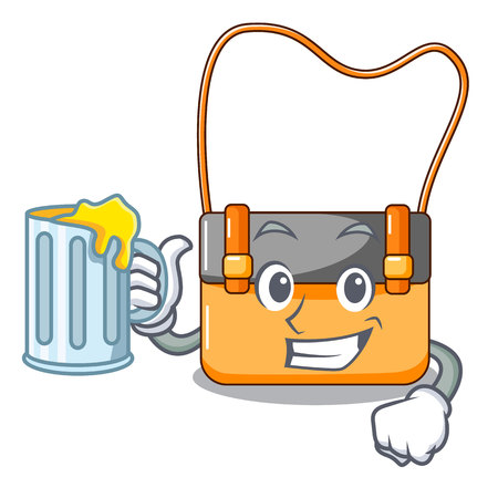 With juice menesseger bag color on a cartoon vector illustration