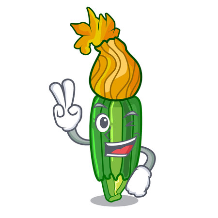 Two finger zucchini flowers in shape a cartoon vector illustration