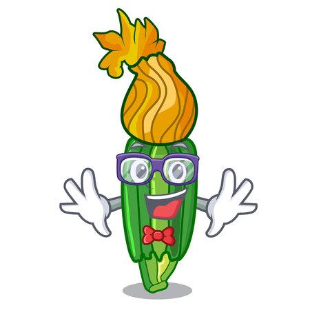 Geek zucchini flowers in shape a cartoon vector illustration