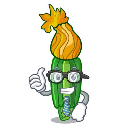 Businessman zucchini flowers in shape a cartoon vector illustration