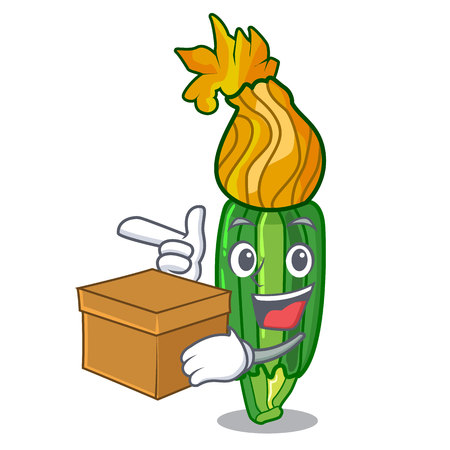 With box zucchini flowers in shape a cartoon vector illustration