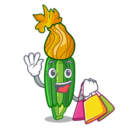 Shopping zucchini flowers in shape a cartoon vector illustration