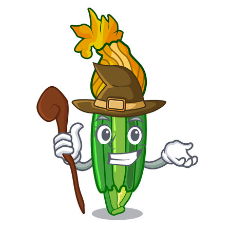 Witch flowers character on a zuchini funny vector illustration