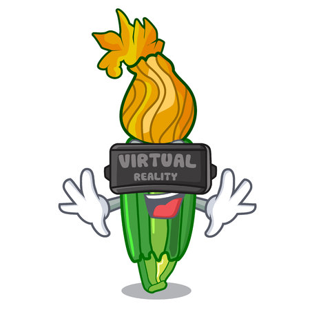 Virtual reality flowers character on a zuchini funny vector illustration
