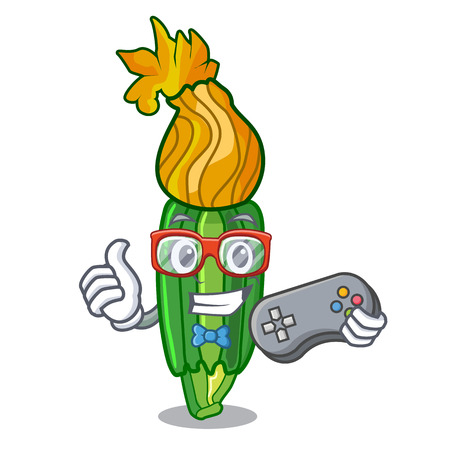 Gamer flowers character on a zuchini funny vector illustration