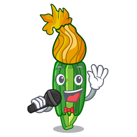 Singing flowers character on a zuchini funny vector illustration Ilustracja