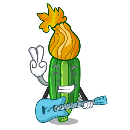 With guitar flowers character on a zuchini funny vector illustration