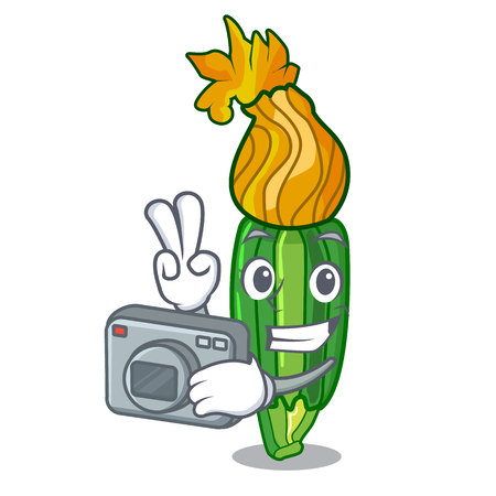 Photographer flowers character on a zuchini funny vector illustration