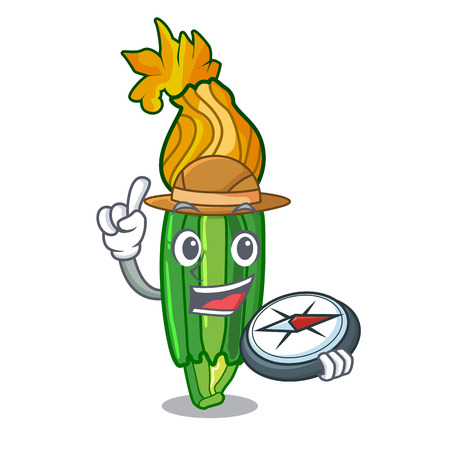Explorer flowers character on a zuchini funny vector illustration