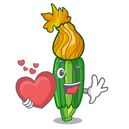 With heart flowers character on a zuchini funny vector illustration