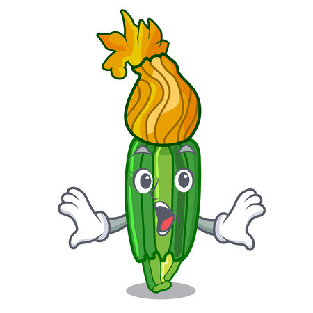 Surprised flowers character on a zuchini funny vector illustration