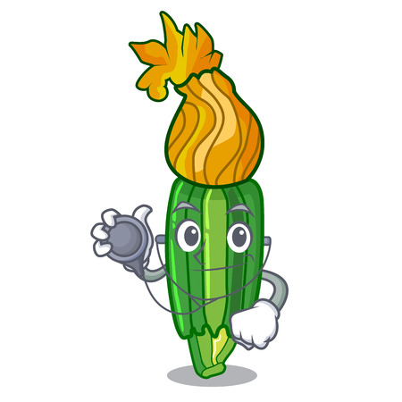 Doctor zucchini flowers obtained by mixing mascot vector illustration Ilustracja