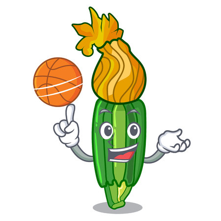 With basketball zucchini flowers obtained by mixing mascot vector illustration