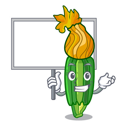 Bring board zucchini flowers obtained by mixing mascot vector illustration