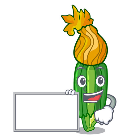 With board zucchini flowers obtained by mixing mascot vector illustration