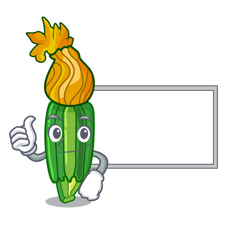 Thumbs up with board zucchini flowers obtained by mixing mascot vector illustration 免版税图像 - 126910432
