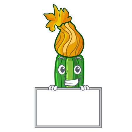 Grinning with board zucchini flowers obtained by mixing mascot vector illustration