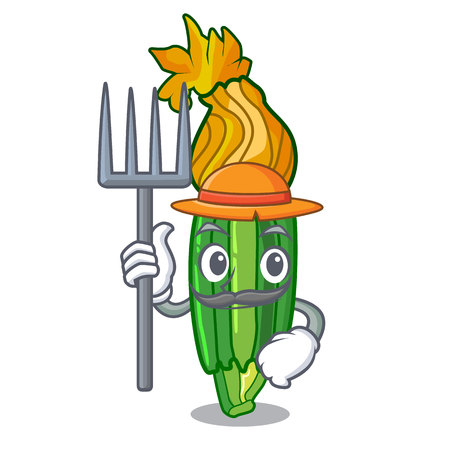 Farmer zucchini flowers obtained by mixing mascot vector illustration Ilustracja