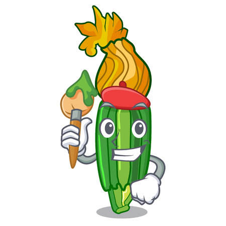 Artist zucchini flowers obtained by mixing mascot vector illustration