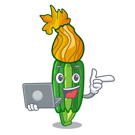 With laptop zucchini flowers obtained by mixing mascot vector illustration