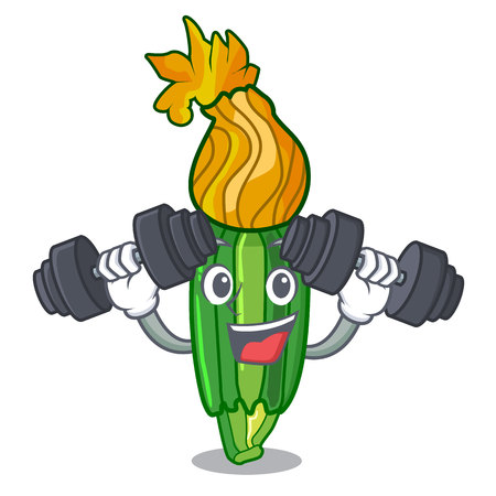 Fitness zucchini flowers obtained by mixing mascot vector illustration
