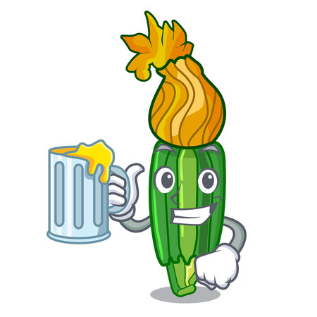 With juice flowers character on a zuchini funny vector illustration