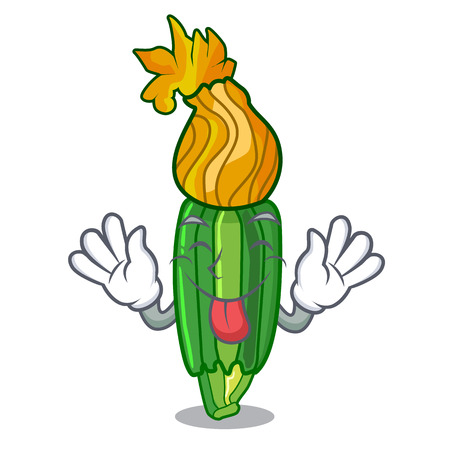 Tongue out flower zuchini pumpkins decorated on cartoon vector illustration