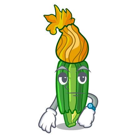 Waiting flower zuchini pumpkins decorated on cartoon vector illustration