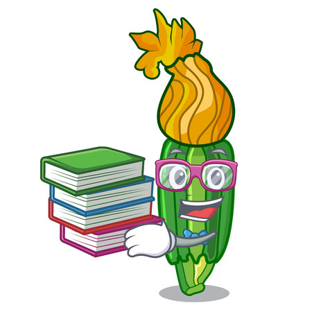 Student with book flower zuchini pumpkins decorated on cartoon vector illustration