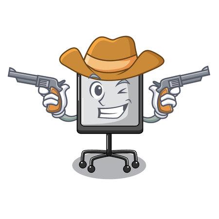 Cowboy prestation board chart blank on carttoon vector illustration