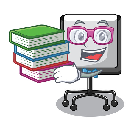 Student with book presentation board Isolated on a mascot vetor illustration