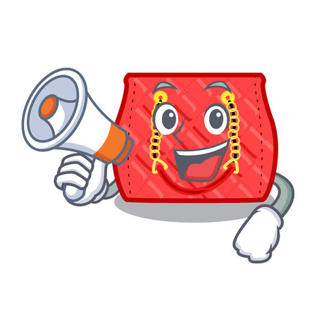 With megaphone quilted bag isolated on a mascot vector illustration