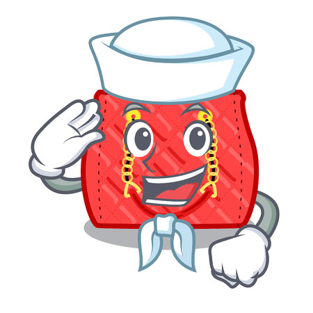 Sailor quilted bag isolated on a mascot vector illustration