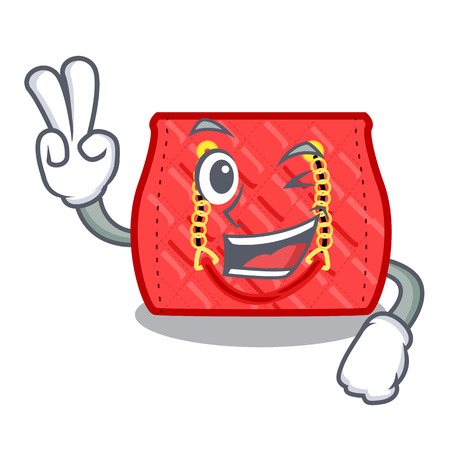 Two finger small shoulder bag quilted by cartoon vector illustration