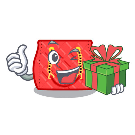 With gift quilted purse by shape character fuuny vector illustration Vettoriali